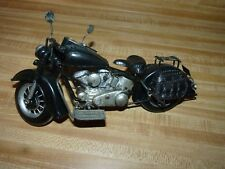Large Black Silver Metal Motorcycle Figurine Home Office Man Cave Garage Decor