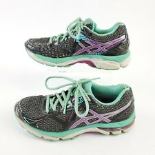 Asics GT 2000 Running Shoes T550N Black Purple Green Size 6 US Athletic Lace Up
