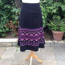 Monsoon A-line Black Needle-Cord Midi Skirt Pink Aztec Embroidery Corduroy UK12