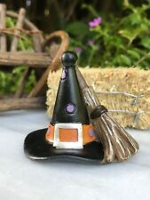 Miniature Dollhouse FAIRY GARDEN ~ Mini Fall HALLOWEEN Witch Hat with Broom