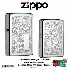 Zippo Venetian Design Lighter, High Polish Chrome, Genuine Windproof #352
