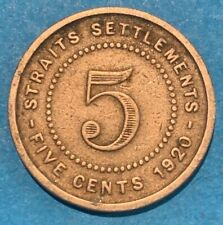 1920 Straits Settlements  (Malaysia) 5 Cents KGV Coin