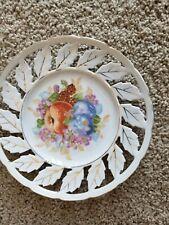 2 plates - Decorative Leaf edges and fruit Design