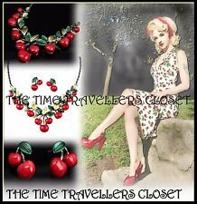 Cherry Necklace Earrings Set, Rockabilly Kitsch Vintage Statement Cherries Pinup