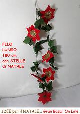 NATALE FILO DECORATIVO STELLE ROSSO 180 cm DECORAZIONE CASA NEGOZIO LOCALE