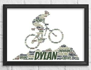 Personalised Gift Mountain Bike Cyclist Word Art Print frame Fathers Day