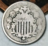 1867 Shield Nickel 5 Cents 5C No Rays Ungraded Civil War Era Good US Coin CC4085