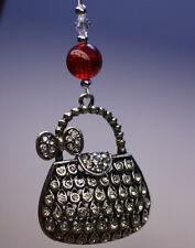 NOVELTY Christmas Tree Ornament Decoration Silver Handbag made with Swarovski