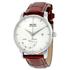 Mido  Baroncelli II Power Reserve Automatic Silver Dial Brown Leather Mens