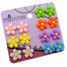 Wholesale Lot of Resin Color Flower Magnetic Clip on Stud Earrings for Kid Girl