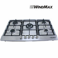 Windmax 86cm Silver GAS Stainless Steel Cooktop Stove Cook Top 5 With Burner Wok