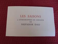 catalogue de vente 4 litographies Salvador DALI Les 4 saisons