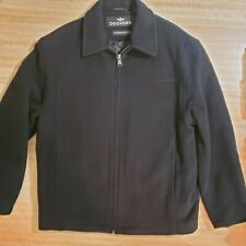Dockers Premium Wool Coat Quilted Lining Full Zip Black Size Small