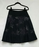 Next Skirts A-line skirts Size 8 Black Embroidered Box Pleat Skirt