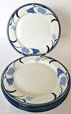 """FIVE Dansk Tivoli Belles Fleurs Blue Dinner Plates 10-7/8"""" Blue Stems Flowers Po"""
