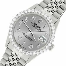 Rolex Datejust 36MM Steel Watch w/ 3.35CT Diamond Bezel/Silver Arabic Dial