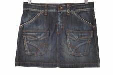 Gas Womens Denim Mini Skirt W26 Blue Cotton