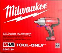 "New In Box Milwaukee M18 2663-20 Cordless 1/2"" High Torque Impact Wrench 18 Volt"