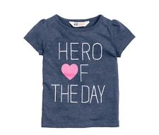 Girls H M H&M Shirt Logo Top, Hero Of The Day Blue & Pink Size 6 6X 7 8 New