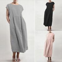 UK Womens Short Sleeve Baggy Summer Beach Midi Dress Shift Dress Kaftan Plus