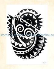 "US Seller-tattoo stickers black tribal totem 8.25"" large arm tattoo temporary"