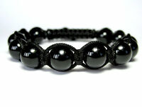 MENS BLACK ONYX Gemstone Beads Shamballa Wrap Yoga Mala Beaded Jewelry Bracelet