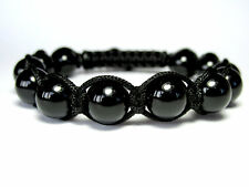 MENS BLACK ONYX Gemstone Beads Shamballa Wrap Yoga Mala Beaded Jewelry Bracelet