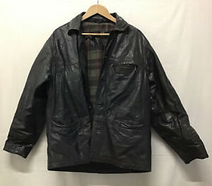 Men's Real Leather Jacket Black Tartan Lining Front Pockets Some Marks Sz M (/1)