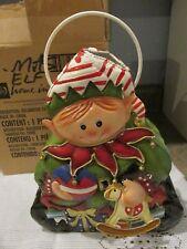Vtg Homco Home Interior Tin Christmas Elf Candle Holder W/ Original Box