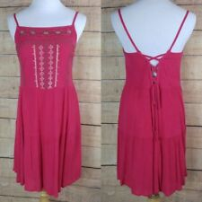 $59 NWT CHELSEA & VIOLET Sz S Boho Hippie Coral Red Shift Dress Lace Back
