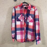 Adidas Button Down Shirt Long Sleeve Pink Plaid Men's Size 50 M