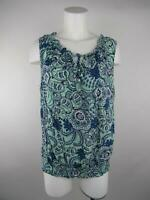 a.n.a A New Approach Women Plus 1X Blue Rayon Floral Paisley Neck Tie Blouse Top
