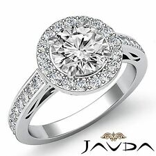 Round Diamond Engagement Halo Pave Filigree Ring GIA F SI1 14k White Gold 2.3ct