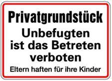 Schild Alu Privatgrundstück Unbefugten ist das Betreten verboten 250x350mm