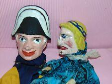 2 antique anciennes marionnettes  tetes bois Punch/Guignol  HAND puppets