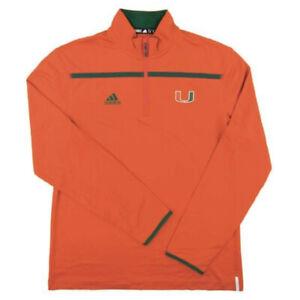 Miami Hurricanes Adidas Orange Climalite Performance 1/4 Zip LS NEW!!