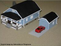 HO Scale Bungalow house set kit (Gray)  Hobby train town unassembled diy kit
