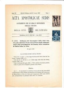 s39534 VATICANO ACTA APOSTLICAE SEDIS 8 5 1951 Assunzione di Maria in Cielo