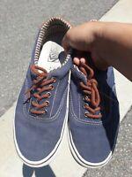 Vans Blue Canvas Low Top Lace Up Sneakers Skater Shoes Men's size 9