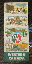 1955 Western Canada   road  map B/A oil gas Alberta British Manitoba