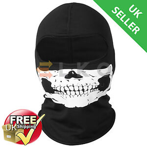 Skull Balaclava face mask black motorcycle ski cycling thermal neck warmer bike