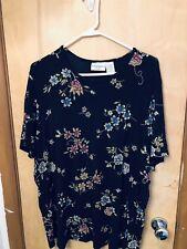 Womens Size 1X Kathy Ireland Short Sleeve Blouse Black Floral