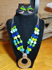 New MIXIT 3 Strand Jewelry Set Blues Greens and Silvertone Necklace & Earrings