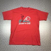 90s Vintage HOOKED ON GOLF Mens T Shirt XL | Single Stitch