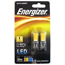 2 x Energizer G9 LED Bombilla de cápsula de filamento 2 W = 20 W Blanco Cálido utilizar un 90% menos Ene.