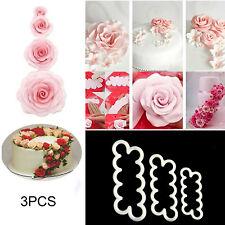 3 x Cake Rose Mold Flower Cutter Fondant Icing Tool Sugarcraft Decorating Mould
