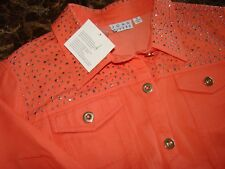 WOW NEVER WORN JOAN RIVERS TANGUERINE ORANGE SEALED STUDS DENIM JACKET ~ SIZE 2X