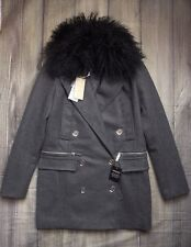 MICHAEL KORS MONGOLIAN FUR LADIES WOOL COAT JACKET BNWT 10 GENUINE £800+ WOMENS