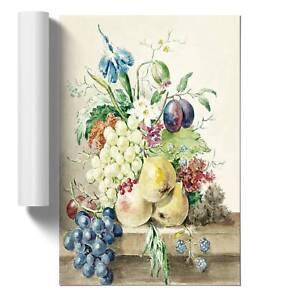 Still Life with Fruit & Flowers Wall Art Poster Print Jean Bernard