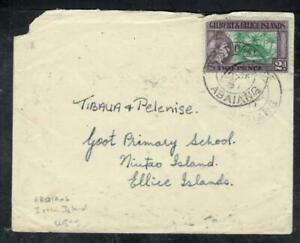 GILBERT & ELLICE ISLANDS COVER (P0807B) 1957 QEII 2D ABAIANG TO NIUTAO